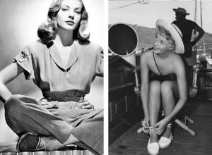 Lauren Bacall y Marilyn Monrrow con esparteras
