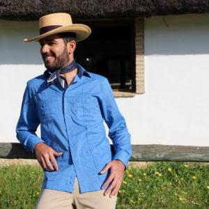 romería, sombrero gambler, pantalón campero, camisa cubana